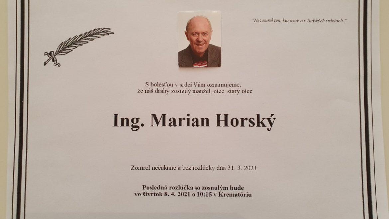 Opustil nás plk.v.v.Ing. Marian HORSKÝ